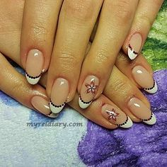 French manicure, diamond accents - nail art ideas French manicure with red accents and water based flower stickers