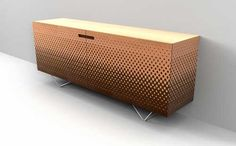 Cabinet with a contemporary marquetry pattern...