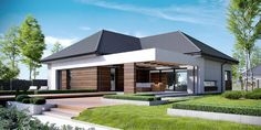 Here, we are presenting you a detailed plan of a house intended for multi-member family that wants modern interiors and exteriors. This beautiful single-story house is characterized by impressive shape with a large garage.