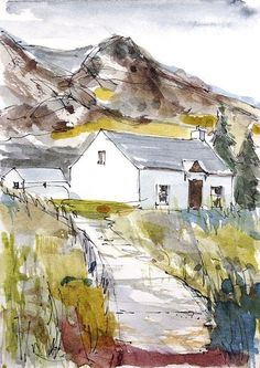 Original Watercolour Painting ACEO -Highland Cottage- by Annabel Burton