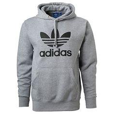 Adidas Mens Originals Trefoil Logo Hoodie Medium Grey