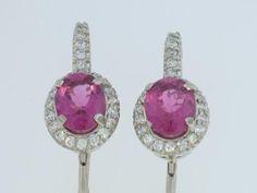 14kwg pink tourmalines 3.64ct and 41 diamonds .74ct earrings jewelry http://www.factorysinc.com