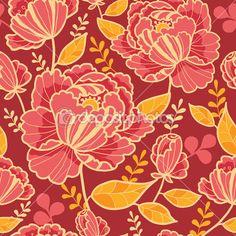 Nahtlose Hintergrundmuster von Gold und rot Blumen — Stockillustration #15498183