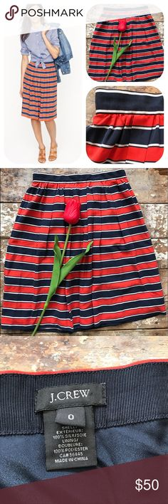 """J.Crew Gondola Striped Woven Silk Skirt NWOT J.Crew red, navy & white Gondola skirt. Striped woven silk. Pleating. Designed to sit above the knee. Concealed zip & hook fastening at side. Exterior shell: 100% silk; lining: 100% polyester. In excellent condition, never used, been sitting in closet, too small for me. New without tags, NWOT. Dry clean. Fits true to size. Size 0, US sizing. Waist 30"""" across x 21"""" length. 🎈No holds/trades 🎈No lowball offers, open to reasonable ones 🎈Please use…"""
