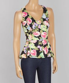 Another great find on #zulily! Black Floral Cutout Peplum Top by GUSB #zulilyfinds