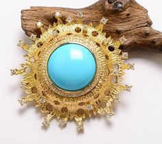 Gold Undyed American Turquoise Diamond Brooch & Pendant
