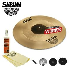 """Sabian 18"""" AAX Freq Crash Cymbal Vote Winner w/ Sleeve, Washer, Felts, Polish & Polish Cloth. Brilliant by Sabian. $239.00. A Sabian-exclusive dual lathing process results in this unique, intensely- cutting cymbal. While many rock cymbals cut with focused, high-pitched tone generated by the bell, the additional lathing process used to manufacture the Freq Crash delivers a very fast explosion of tone followed by a change of frequency that fills the stage with huge,..."""