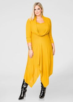 Solid Oversized Cowl Sweater Dress 1  I like the style. Wonder if it comes in a different color. Yellow makes me look jaundiced.