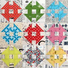 Modern Churn Dash blocks at The Elven Garden: Colour Process - Heidi