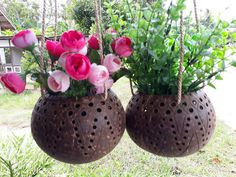 Set 2 Pcs Medium Size Coconut Shell Busket Hanging Pot Planter For Flower Orchid #Unbranded