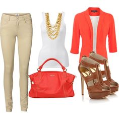 What a perfect work outfit ! Khaki jeans, brown heels, simple white tank, coral bag and blazer and gold necklace #outfitideas #workoutfits #outfitinspiration