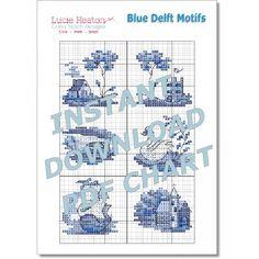 Blue Delft Motifs Cross Stitch Pattern