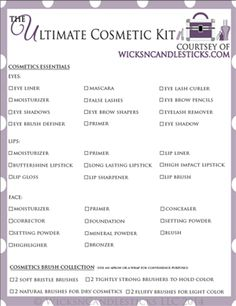 "What every woman (and bride) should have, it's my free downloadable printable ""The Ultimate Cosmetic Kit List!""…"