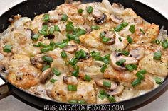 CHICKEN WITH MUSHROOM & ONIONS IN AN ASIAGO CREAM SAUCE…LIGHTENED UP!
