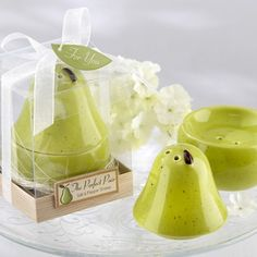 """The """"Perfect Pair"""" Pear Ceramic Salt and Pepper Shakers by Beau-coup"""