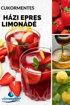 Fogyókúrás ételek és italok - Cukormentes házi epres limonádé Cocktail Drinks, Cocktails, Beverages, Food And Drink, Cooking Recipes, Ice Cream, Keto, Vegetables, Breakfast