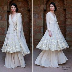 Sufi night outfit , sharara , White layered sharara , angrakha silhouette for eid Indian Wedding Guest Dress, Indian Wedding Outfits, Pakistani Outfits, Dress Wedding, Indian Outfits Modern, Sharara Designs, Indian Attire, Indian Wear, Indian Designer Outfits