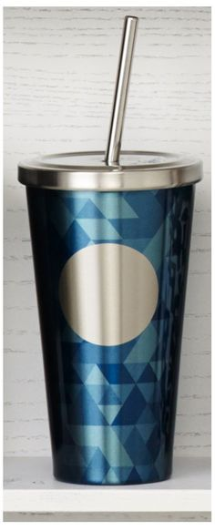 Insulated, stainless steel Cold Cup tumbler featuring blue triangles around a stainless steel dot. #Starbucks #DotCollection