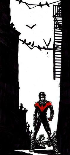 Nightwing by Joel Gomez Superman Wonder Woman, Batman And Superman, Batman Robin, First Robin, Nightwing And Starfire, Richard Grayson, Hero Time, Cool Artwork, Amazing Artwork