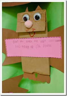 "Activity for the book ""Stellaluna"" by Janell Cannon.  Create paper bag bats with pink strips of paper on which kids use the Venn diagram as a reference to write two bat facts on their bats."
