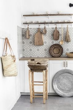 Cement tiles, wood counter, and cutting board decor. ♡♡