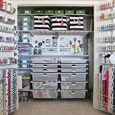 Check out this contained, clutter-free, creative, and beautifully organized craft closet!!!