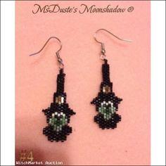 Black Witch Earrings #4 Hand Beaded by MsDuste  $7.99
