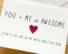 You / Me / Awesome (Math) - Nerdy, Funny Anniversary / Valentine's Day Card / Engagement Card