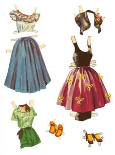 1958 Rosemary Clooney paper doll clothes / www.paper--dolls.com