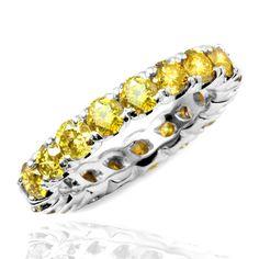 8c15a400447c 1.5 Carat Yellow Diamond Eternity Band Bridal Wedding Ring Amarillo  Canario