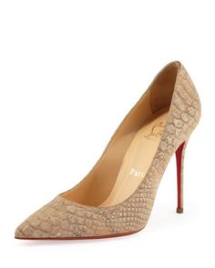 Decollete Snake-Print Cork Red Sole Pump, Beige by Christian Louboutin at Bergdorf Goodman.