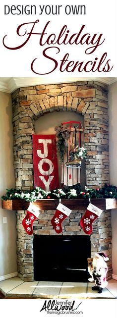 Design your own Christmas and holiday stencils on a salvaged barnwood. Makes cute holiday, porch and home decor! Painting tips from theMagicBrushinc.com