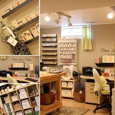 Basement Craft Room - if we could finish our basement to look like this I'd move down there and never come up. :)