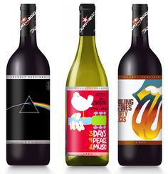 Wines That Rock Collection    Rolling Stones Forty Licks Merlot,  Woodstock Chardonnay & Pink Floyd's' The Dark Side of the Moon Cabernet Sauvignon.