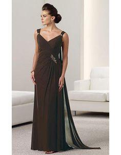 Elegant A-Line Floor Length Chiffon Mother of the Bride/ Groom Dresses