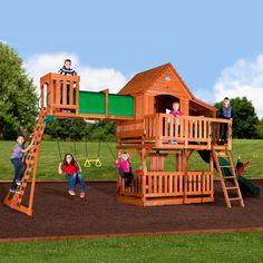 Wooden Swing Set Backyard Discovery Woodridge II All Cedar Playset Outdoor New