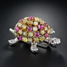 Chrysoberyl and Ruby Turtle Pin - 50-1-2877 - Lang Antiques