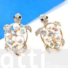 Cute Turtle Tortoise Sea Animal Stud Earrings with Rhinestones
