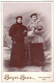 Winter wear, Wisconsin, probably late 1800s.  Boyer Bros. photography studio