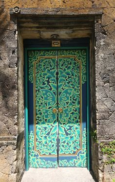 .Blue and turquoise door