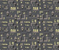 Spider Castle fabric by mongiesama on Spoonflower - custom fabric