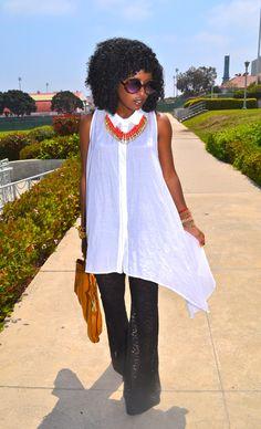 Asymmetrical Shirt + Lace Bell Bottom Pants