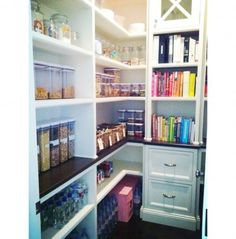I just like the idea of a place for keeping your cookbooks too!!       Organized pantry, color coded, organized kitchen