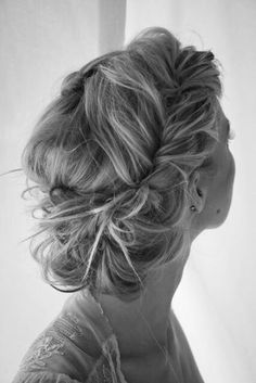 Messy braid and bun, bridesmaid hair