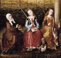 """beautiful-belgium: """"MASTER of the View of Ste Gudule St Catherine of Alexandria with Sts Elizabeth of Hungary and Dorothy c. 1480 Oil on panel, 45 x 47 cm Private collection """" Medieval Paintings, Renaissance Paintings, European Paintings, Saint Elizabeth Of Hungary, St Catherine Of Alexandria, Renaissance Costume, Medieval Art, Medieval Books, Medieval Dress"""