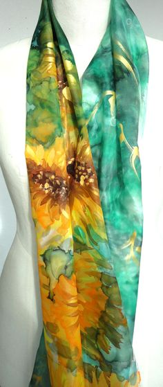 Sunflowers Scarf. Hand Painted Silk Shawl. Emerald Scarf. Floral Gift for Her. Foulard Echarpe Soie.14x71 in. (35x180cm).  $42.00, via Etsy.