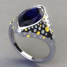 2012 JCK Platinum Innovation Awards:  In the Platinum Colored Stone category, this design by Cateline Quinn features a gorgeous Blue Sapphire center and yellow sapphire and diamond accents.  Voting for the JCK Platinum Innovation Awards begins June 1! See our FB page for voting instructions. Please show your Stuller support!