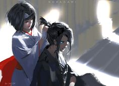 Nora is so crazy...but I love this drawing.  Noragami  (Nora and Yato)