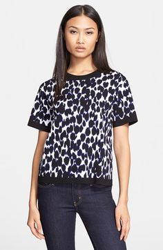 kate spade new york kate spade leopard print jacquard sweater available at #Nordstrom