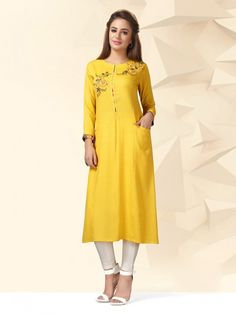 Yellow Colored Cotton Fabric Casual Wear Kurti, Designer Straight cut kurti for casual wear, designer kurti for office wear, designer kurti for occasion, designer kurti for festive, designer cotton kurti, new cotton designer kurtis collection, fresh designer kurtis collection,Summer collection designer kurtis, Winter designer kurtis collection, latest designer kurtis 2019, designer straight cut kurtis for casual wear